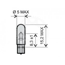 Žárovka RW5 12V 1,2W T5