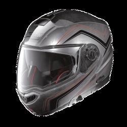 Moto helma Nolan N104 Absolute Como N-Com Scratched Chrome 55