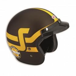 Moto helma Ducati Scrambler Short Track hnědo-žlutá